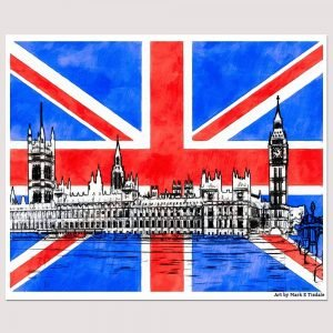 Union Jack Wall Art With Parliament Design