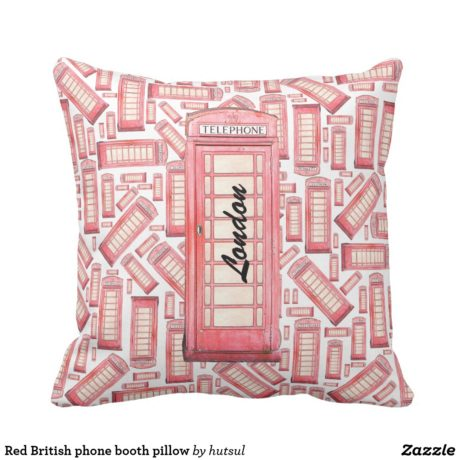 Red Phone Booth Throw Pillow With Text