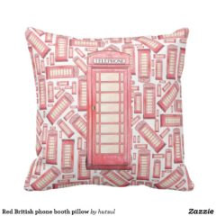 Red Phone Booth Throw Pillow - Fun Pattern Design