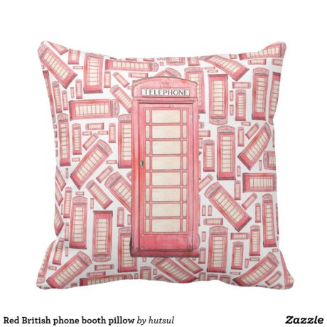 Red Phone Booth Pillow Without Text