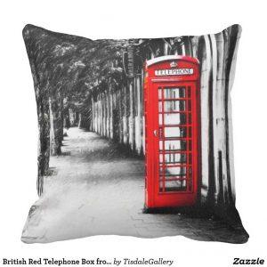 Red Telephone Box Throw Pillow - Classic British Design