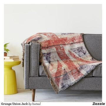 Vintage Union Jack Throw Blanket On Sofa