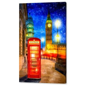 London Phone Booth Canvas Print - artwork by Mark Tisdale