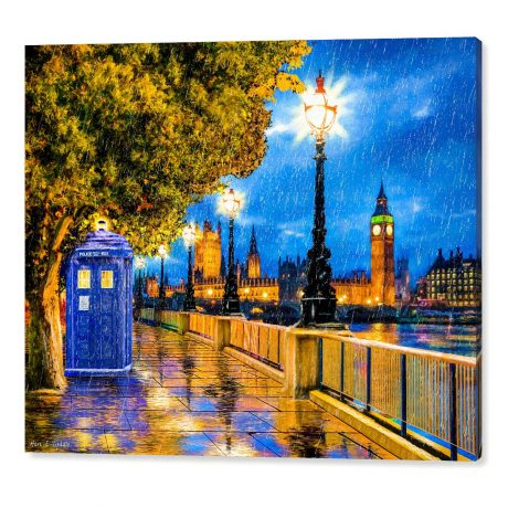 Canvas Wall Art Featuring the Tardis In a London rain