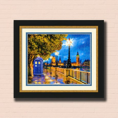 Tardis In The Falling Rain - Framed Print